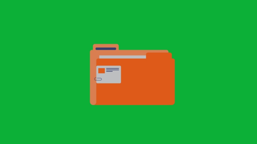 Folder with documents inside - animated cartoon icon on Green screen background | Shutterstock HD Video #1056897506