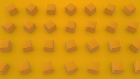 Fashionable 3D animation of seamless loop background of yellow cubes rotating. Clip great for business, presentations, cafe, restaurant, bank. loop animation. 4K