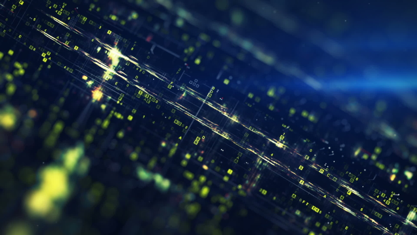 Hexadecimal digital data flow. Cyberspace or computer science concept. Seamless loop 3D render animation | Shutterstock HD Video #1056902756