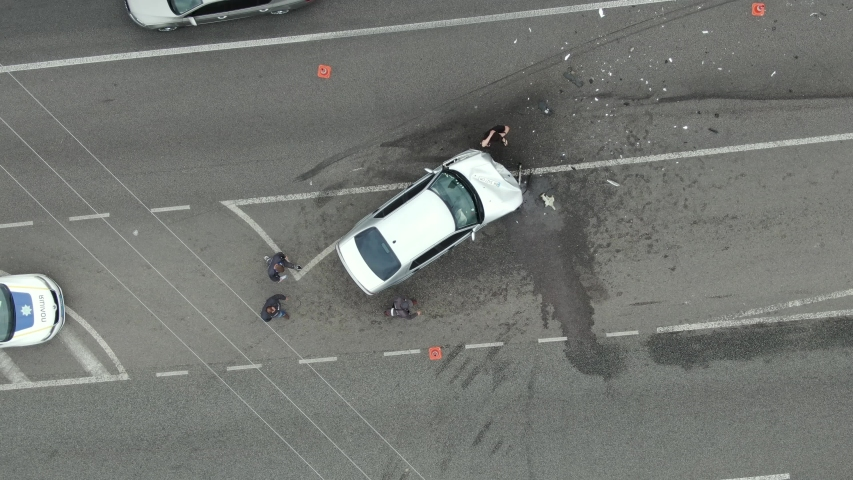 Car accident on the highway with the police