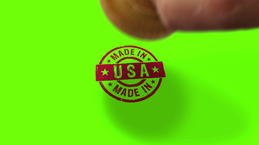 Made in USA stamp and hand stamping impact isolated animation. Factory, manufacturing and production country 3D rendered concept. Alpha matte channel.