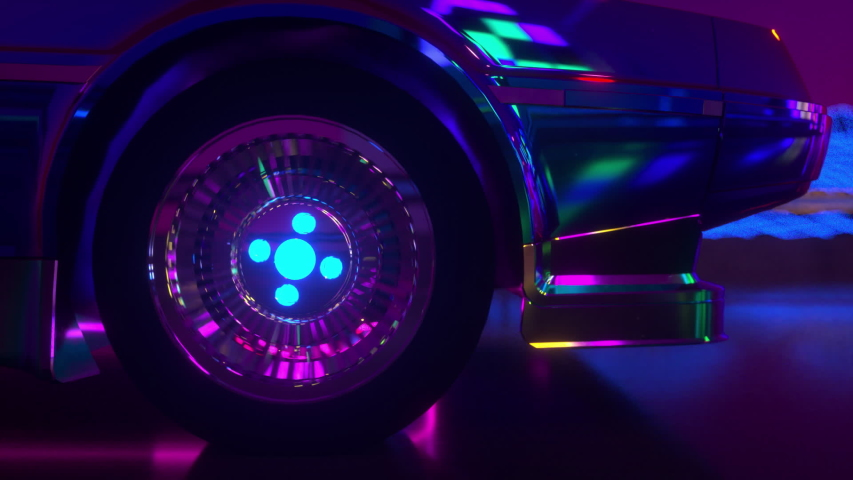 80s retrowave background 3d animation. Futuristic car wheel close up. Neon car loop video