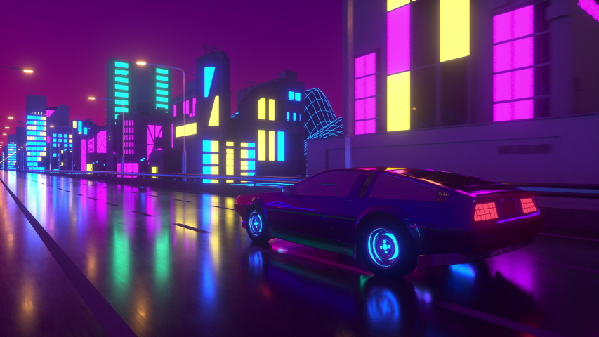 80s retro background 3d animation. Futuristic car drive through neon city. Retrowave vj loop