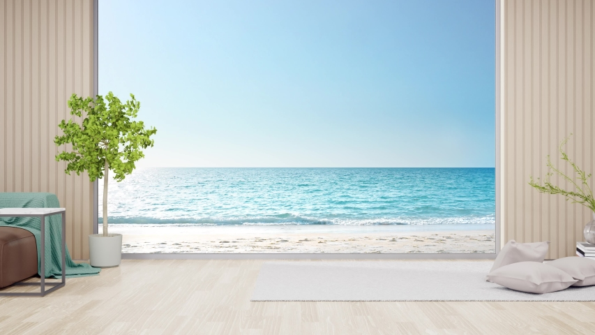 Carpet on parquet floor of bright living room in modern beach house or luxury hotel. Minimal home interior 3d rendering with sea view. Royalty-Free Stock Footage #1056953300