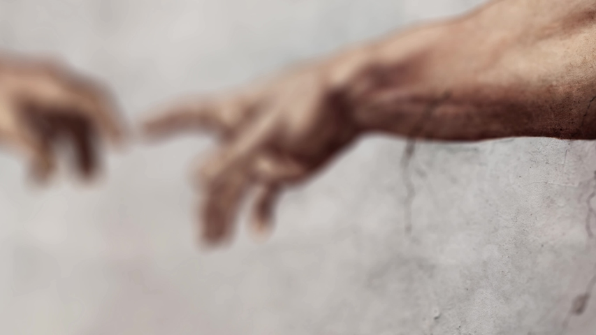 Close up shot of a oil painting and fresco artwork reproduction from a section of Michelangelo's fresco The Creation of Adam.  | Shutterstock HD Video #1056955766