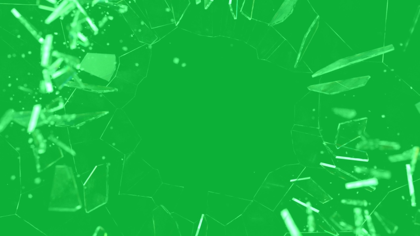 Broken glass - Shatter glass Effect 4K animation on Green screen background - Broken window on Chroma key  | Shutterstock HD Video #1056958052