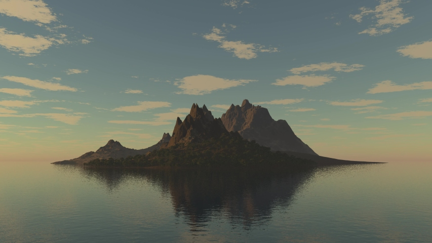 3D Render of a island in the ocean, Mountainous island in the sea at sunrise, 3D Rendering,3D illustration, Seamlessly looped animation.
