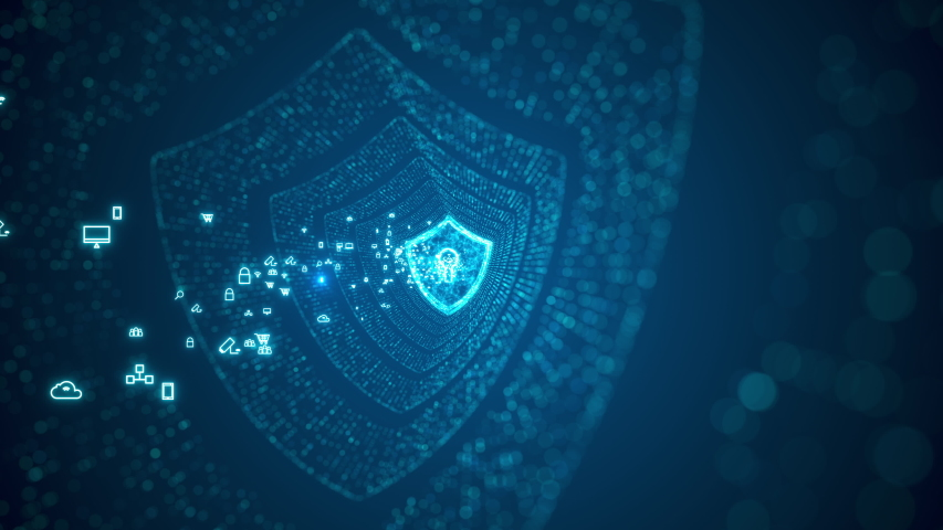 Cyber security concept. Shield With Keyhole icon on digital data background. Illustrates cyber data security or information privacy idea. Blue abstract hi speed internet technology. Royalty-Free Stock Footage #1056970910
