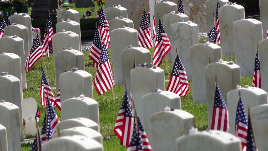 Medium shot of Military Headstones decorated with American Flags for Memorial Day