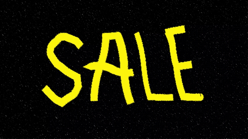 Inscription SALE on a black background in yellow letters   Shutterstock HD Video #1056979736