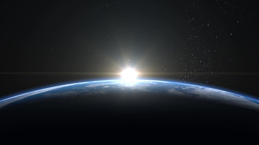 Sunrise over the Earth. View from space. The earth rotates towards the sun. The camera moves away. Realistic atmosphere. Volumetric clouds. Starry sky. 4K. 3d rendering. Stars twinkle.