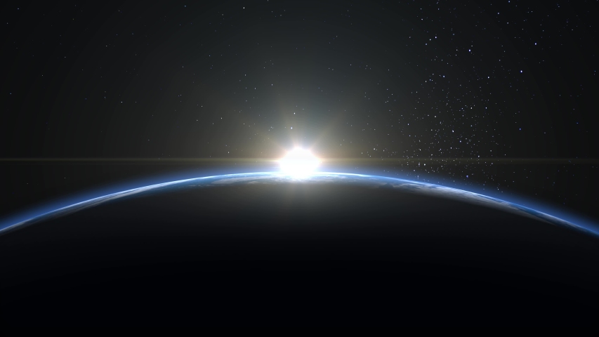 Sunrise from space. Sunrise over the Earth. The earth rotates towards the sun. Volumetric clouds. Static camera 50mm. Starry sky. 4K. Stars twinkle. 3d rendering. | Shutterstock HD Video #1056983111