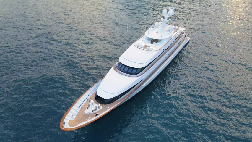Aerial 4K footage of Yacht in the Mediterranean sea, off the coast of Italy.