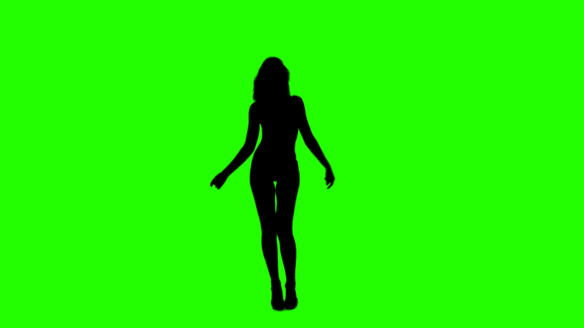 Beautiful Slim Girl Dancing Slow and Fast On a Green Background. Sexual Female Silhouette with Alpha Channel.