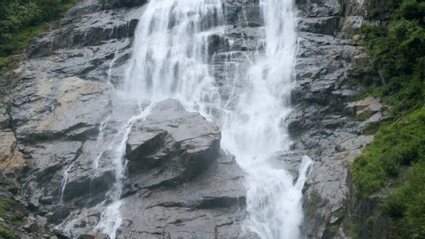 Close up of fallen water of Grawa Waterfall in Stubai, Austria