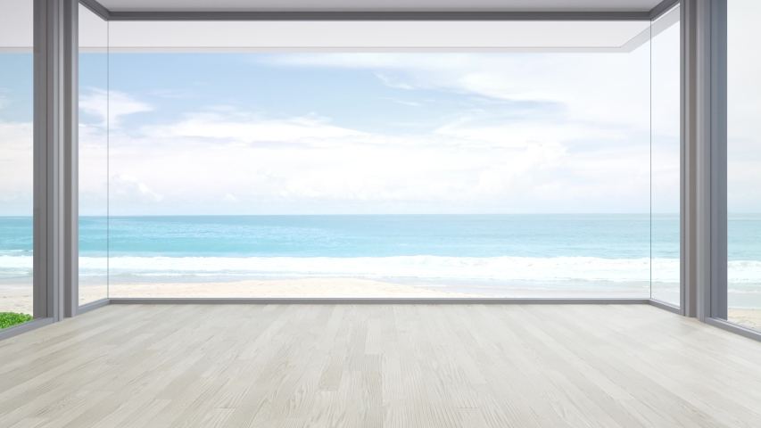 Sea view large living room of luxury summer beach house with big glass window and wooden floor. Interior 3d illustration in vacation home or holiday villa.
