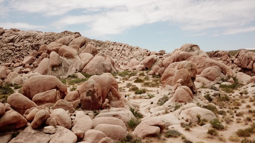 Aerial in Joshua tree national Park in a  granite rock formation