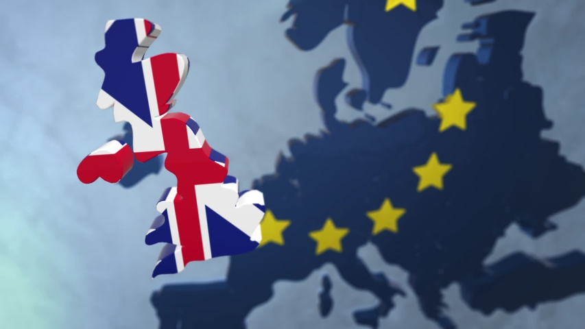 Brexit animation with the European Union map and the United Kingdom disappearing floating out of the constellation of countries - yellow symbolic stars | Shutterstock HD Video #1057005872