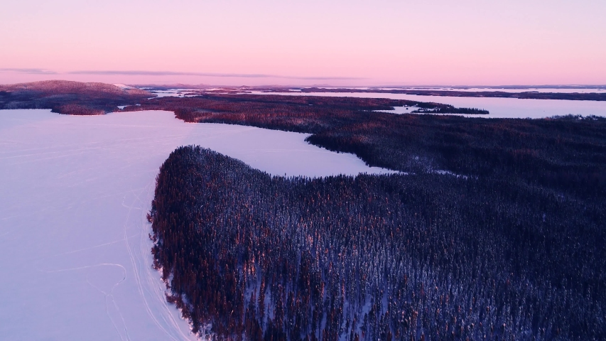 Pink dreamy sunset over a dark coniferous forest. Royalty-Free Stock Footage #1057007990