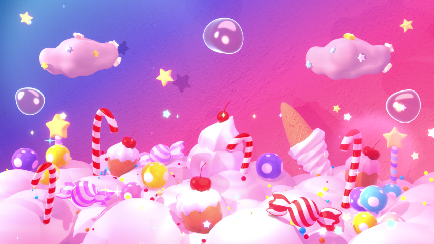 Looped sweet candy land animation. Royalty-Free Stock Footage #1057010480