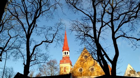 panning up bare trees framing 18th Century church with clear sky