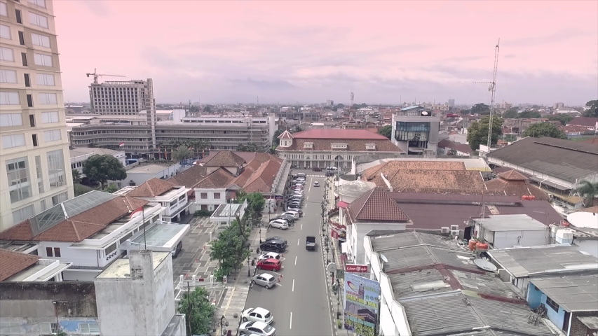 Bandung / Indonesia - Nov 25, 2016: Aerial View of Braga Street, Paris Van Java, an European ambiance  Promenade Street with Artdeco Buildings