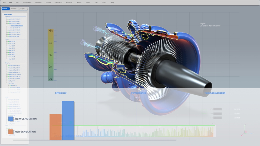 Computer CAD Software showing Design of Industrial Sustainable Green Energy Turbine / Engine in 3D. Efficient Eco-Motor Prototype Animation. VFX | Shutterstock HD Video #1057022618