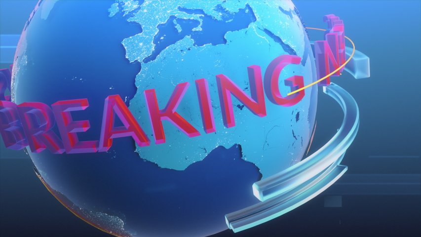Breaking News Channel Intro Done with Conceptual 3D Logo Revolving Around Planet. News Station Broadcasting Intro Concept   Shutterstock HD Video #1057022639