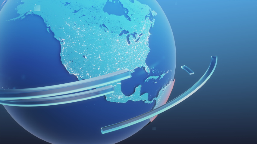 3D Planet Earth Revolving with Conceptual Lines Spinning Around it. Royalty-Free Stock Footage #1057022642