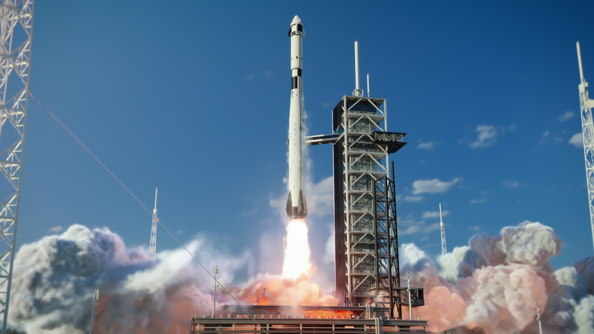 Launch Pad Complex: Successful Rocket Launching with Crew on a Space Exploration Mission. Flying Spaceship Blasts Flames and Smoke on a Take-Off. Humanity in Space, Conquering Universe. Zoom out Royalty-Free Stock Footage #1057022651