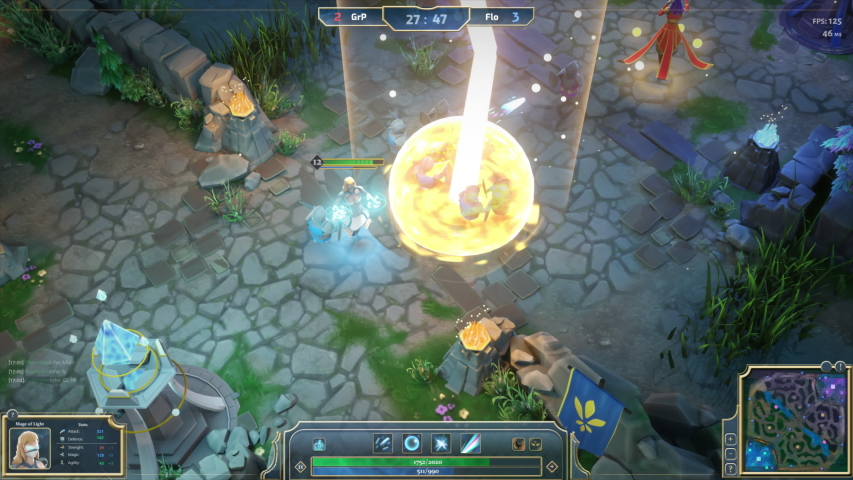 Mock-up Fantasy RPG MOBA Video Game Gameplay with Role Playing Personage Doing Animated Magic with Lots of Explosions and Spells. 3D VFX Animation