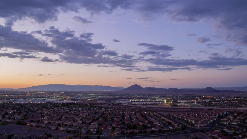 High angle sunset timelapse of the famous Henderson and cityscape at Nevada | Shutterstock HD Video #1057032140