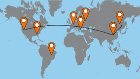 laid route on the world map. travel around the world. video illustration.