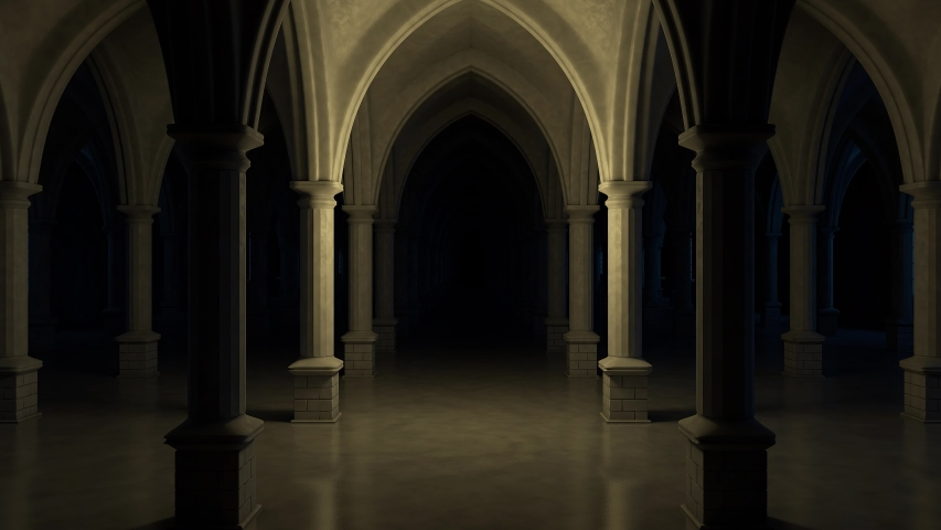 Scary church interior. seamless loop. 3d rendering.