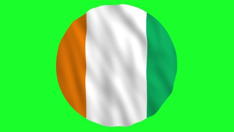 Round Flag of Ivory Coast - Flag of Côte d'Ivoire waving in air Animation