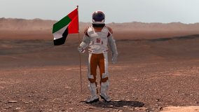 Astronaut walking on Mars with UAE flag. Exploring Mission To Mars Red Planet. Futuristic Colonization Space Exploration Concept. 3d render. Colony on Mars. Elements of video furnished by NASA