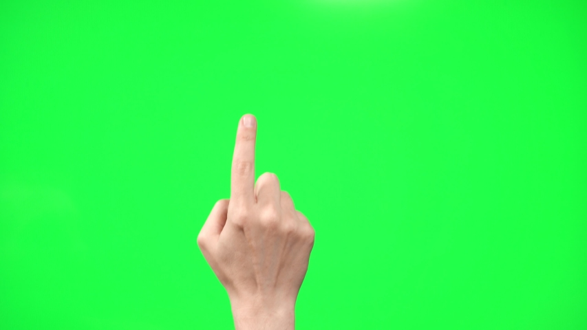 Touch screen gestures. green screen