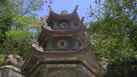 A tower in the The Marble mountains a complex of Buddhist temples, famous tourist destination in the city of Da Nang, central Vietnam. Travel to Vietnam concept