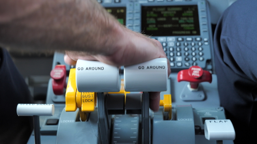 Pilot Controls Plane's Thrust with Throttle Lever during Taxi Close up