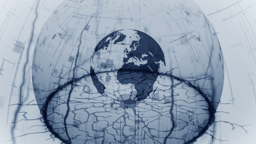 Safe earth inside a shield dome. Half of sphere. Business concept of protection and safety. Protect from global crisis. Barrier. Security. Loop animation.