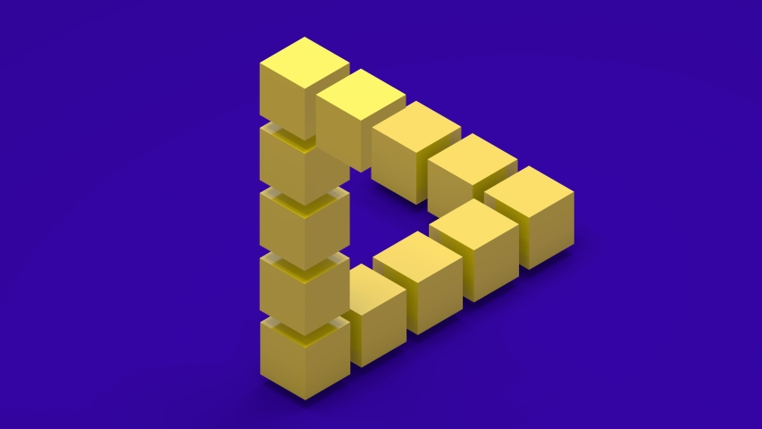 3D animation of an impossible triangle that is assembled from cubes and 3D text. The figure unfolds and reveals the mystery of the impossible triangle. | Shutterstock HD Video #1057067141