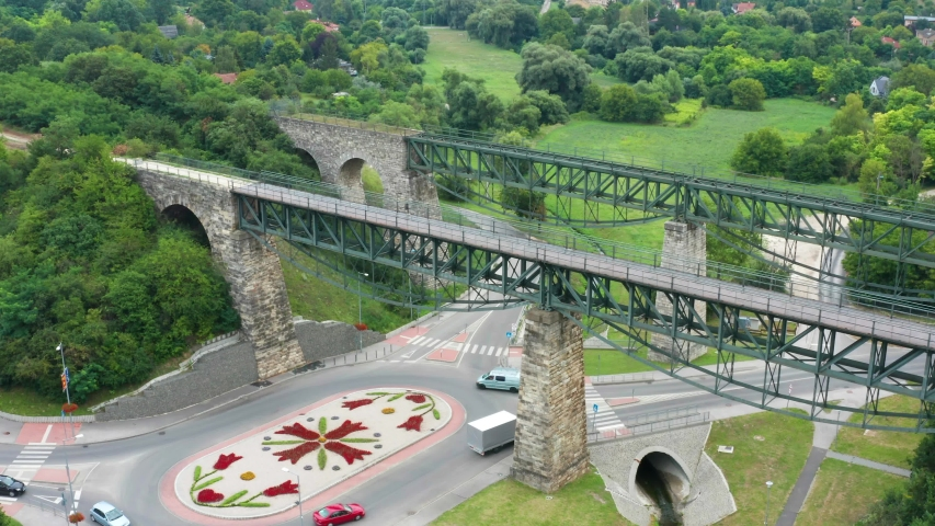 Biatorbagy Railway Viaduct aerial view in Hungary.  | Shutterstock HD Video #1057068890