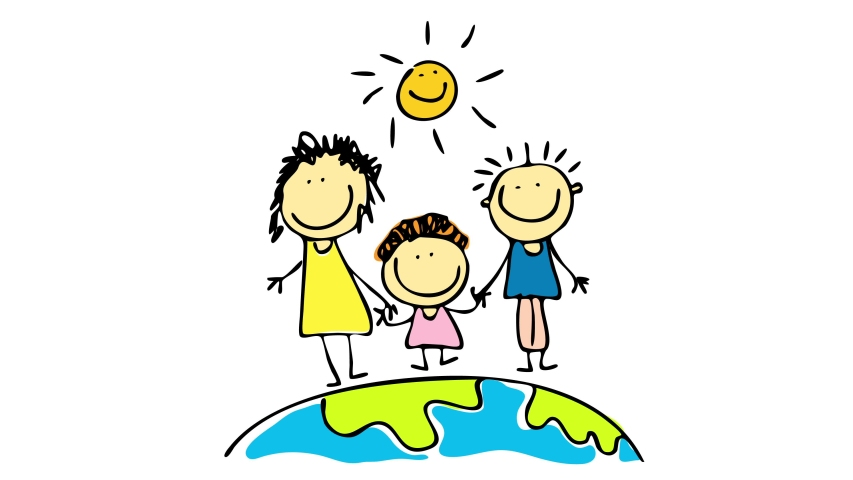 Family of three standing on a small fraction of the earth showing joyful attitude with the sun above smiling at them suggesting they live in a happy world | Shutterstock HD Video #1057076678