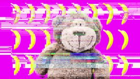 Video of funny soft toy animal dancing in front of yellow bananas in rows with overlayed glitch and distortion effects
