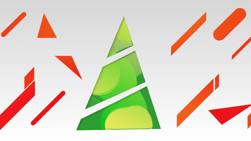 Animation of digital green Christmas tree formed with colourful geometric shapes with red elements on white background. Christmas celebration and festivity concept digitally generated image. | Shutterstock HD Video #1057085603
