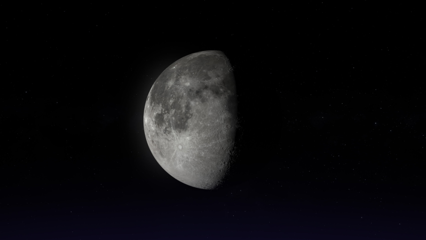 Full moon to new moon. Ultra realistic lunar phases. Moon phases. 3D moon and stars. [ProRes - UHD 4K] Royalty-Free Stock Footage #1057085756