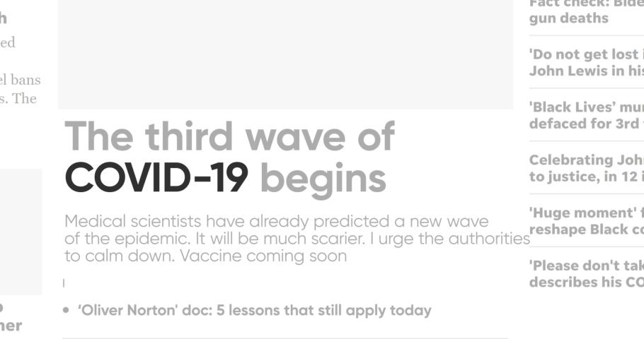 Viral Covid-19. Deadly coronavirus coverage. Seamless loop background. Zoom word closeup. News concept keyword. Alert. Fear. Corona virus. Panic danger headline. Close-up highlight text. Health care.   Shutterstock HD Video #1057108586