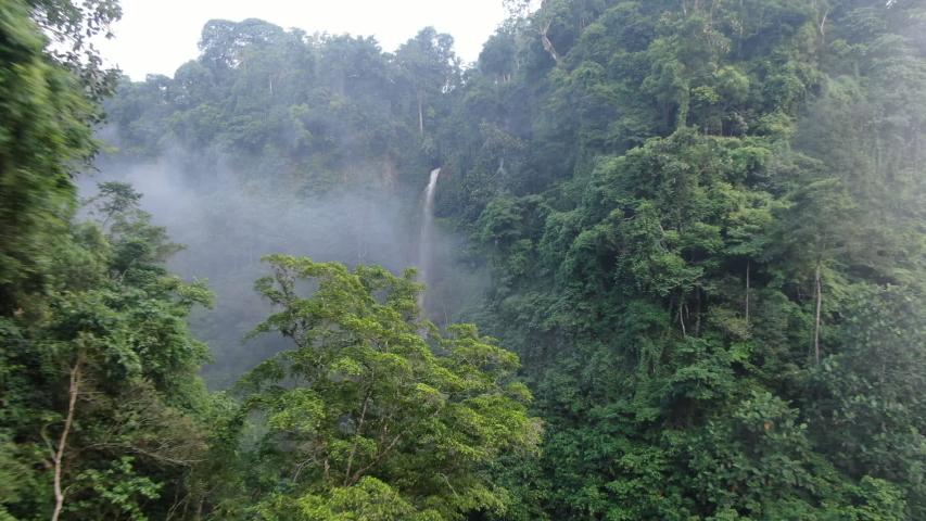 Camera is flying above waterfall in eastern tropical forrest. Fast shooting first. Drone aerial.