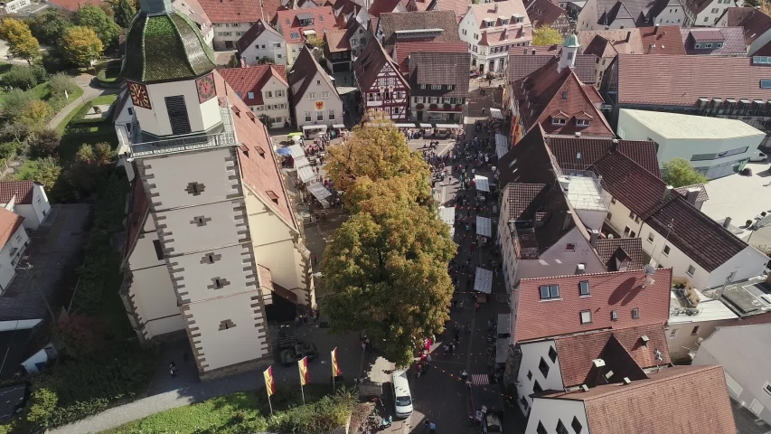 Drone flight in German city Weilheim an der Teck - View on church | Shutterstock HD Video #1057133507