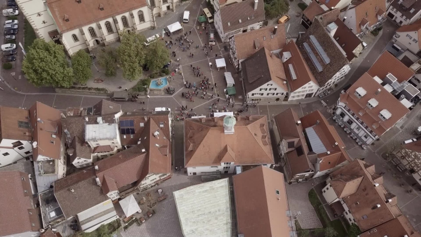 Drone flight Germany in city Weilheim an der Teck - Townhall and church 2of6 | Shutterstock HD Video #1057133576